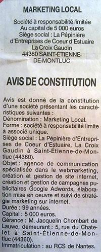 Avis- constitution marketing local