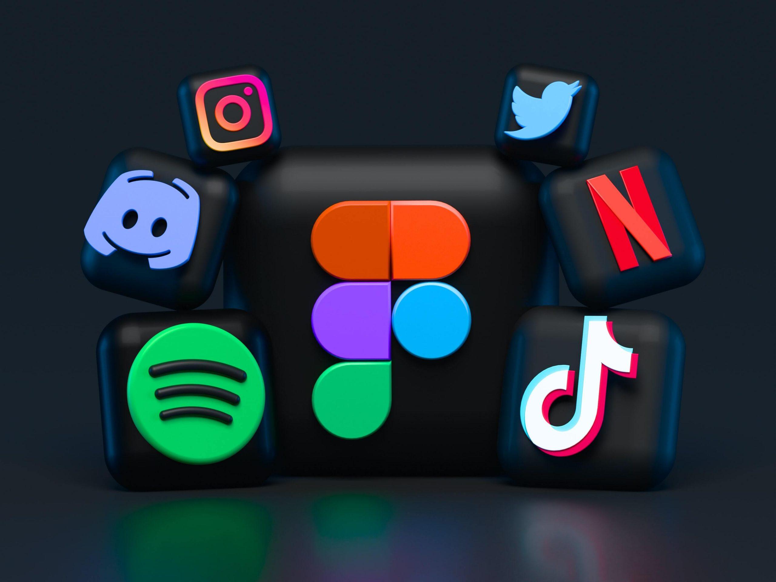 logo réseaux sociaux 3D